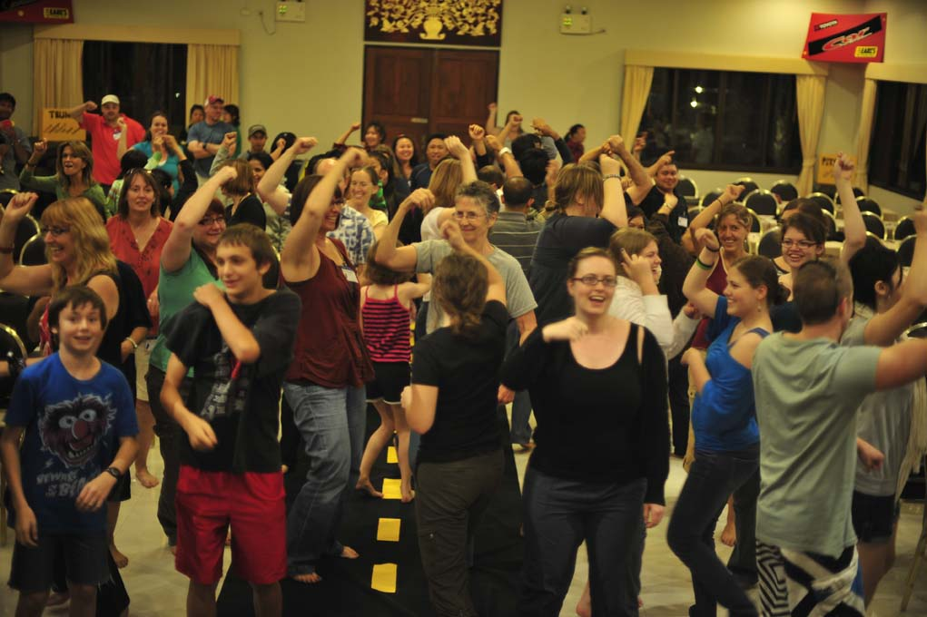 SOme of our wonderful staff dancing at last year's staff retreat.