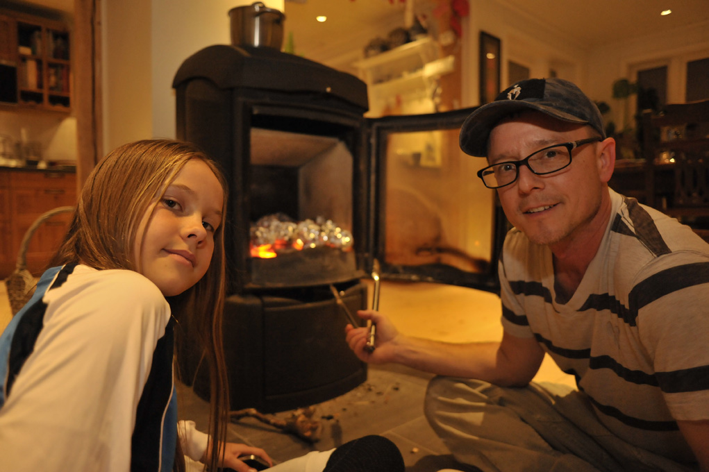 KK and Dad were sweating pretty hard while cooking salmon in the fire place.